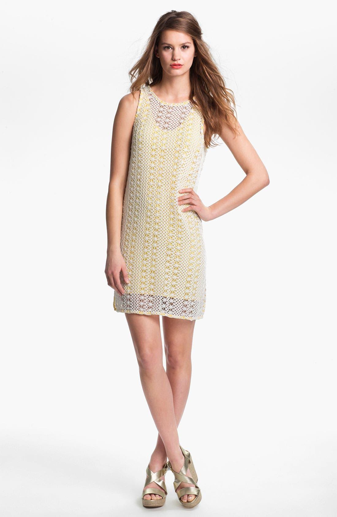 Main Image - Press Crochet Overlay Dress