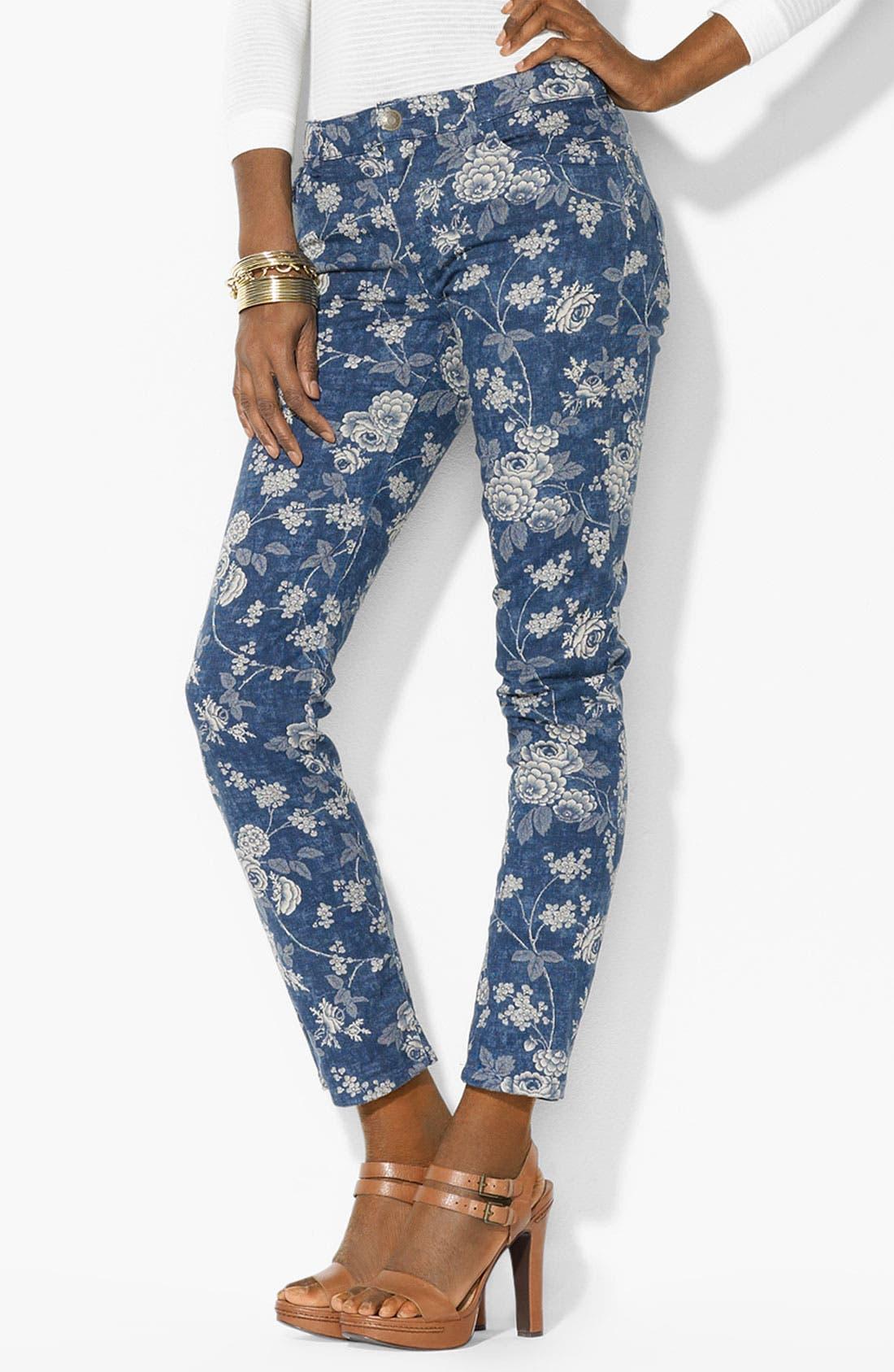 Alternate Image 1 Selected - Lauren Ralph Lauren Print Straight Leg Ankle Pants (Petite) (Online Only)