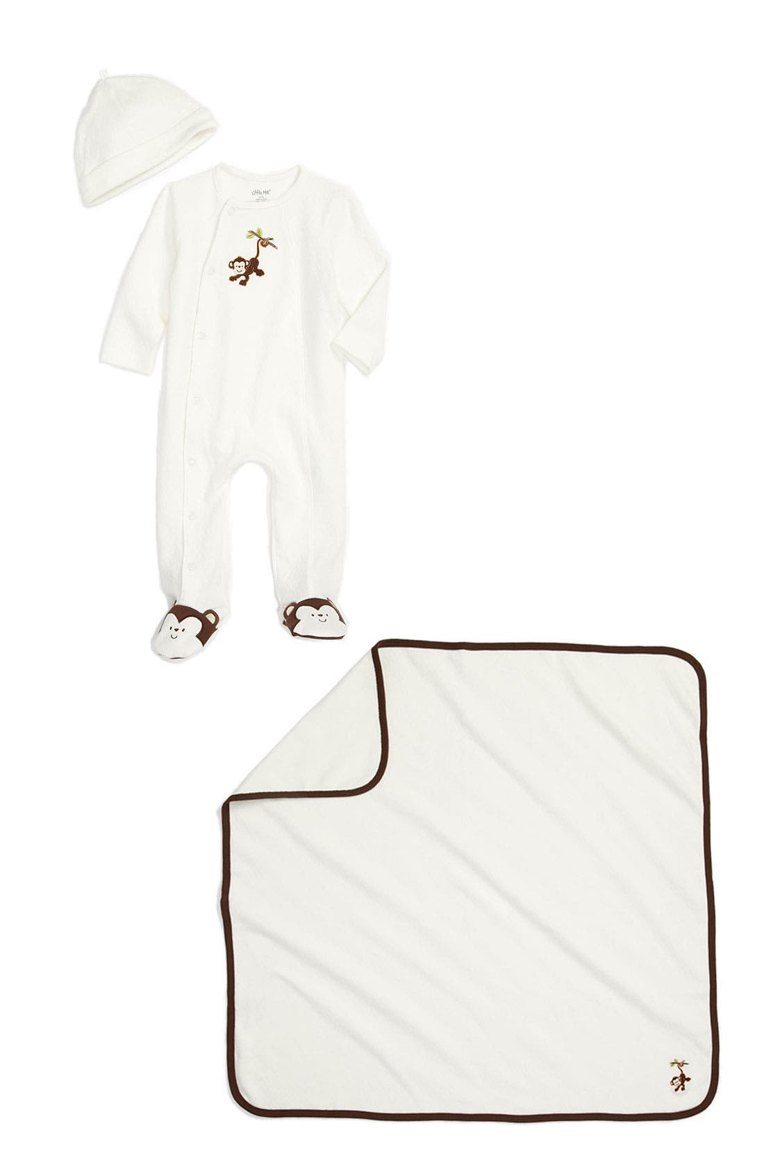 Main Image - Little Me Footie, Hat & Blanket (Infant)