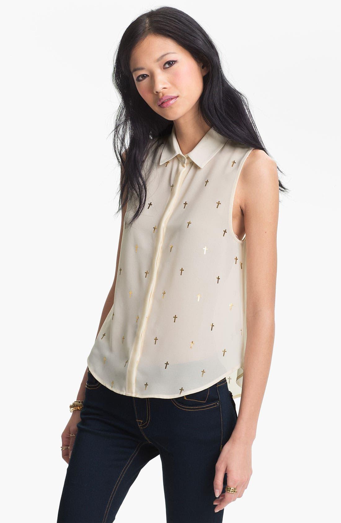 Main Image - Elodie Gold Cross Print Chiffon Shirt (Juniors)