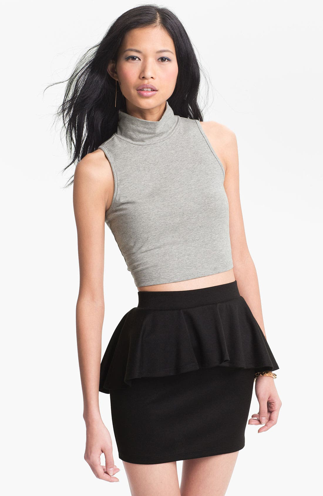 Alternate Image 1 Selected - Living Doll Crop Mock Turtleneck (Juniors)