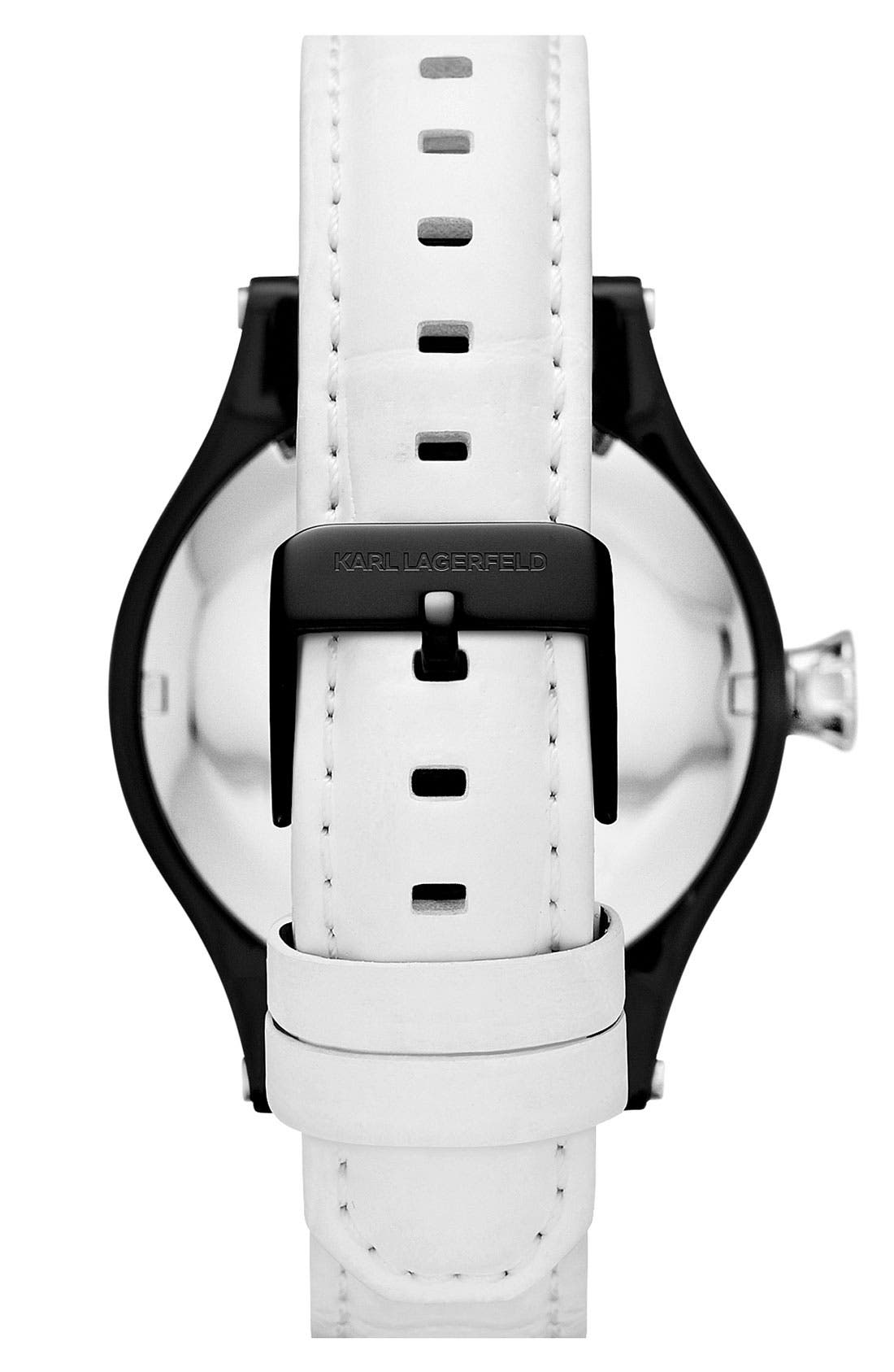 Alternate Image 3  - KARL LAGERFELD Chain Detail Leather Watch, 40mm