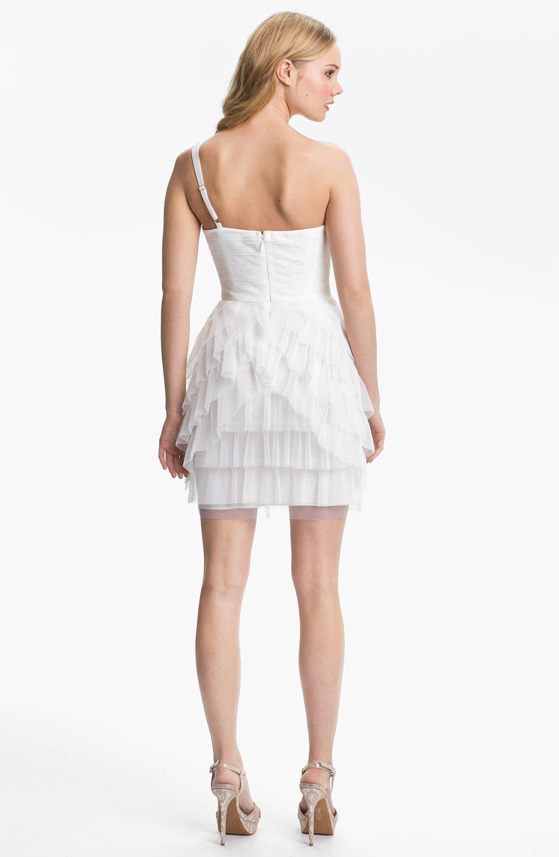Alternate Image 2  - BCBGMAXAZRIA 'Ella' One Shoulder Tiered Tulle Dress