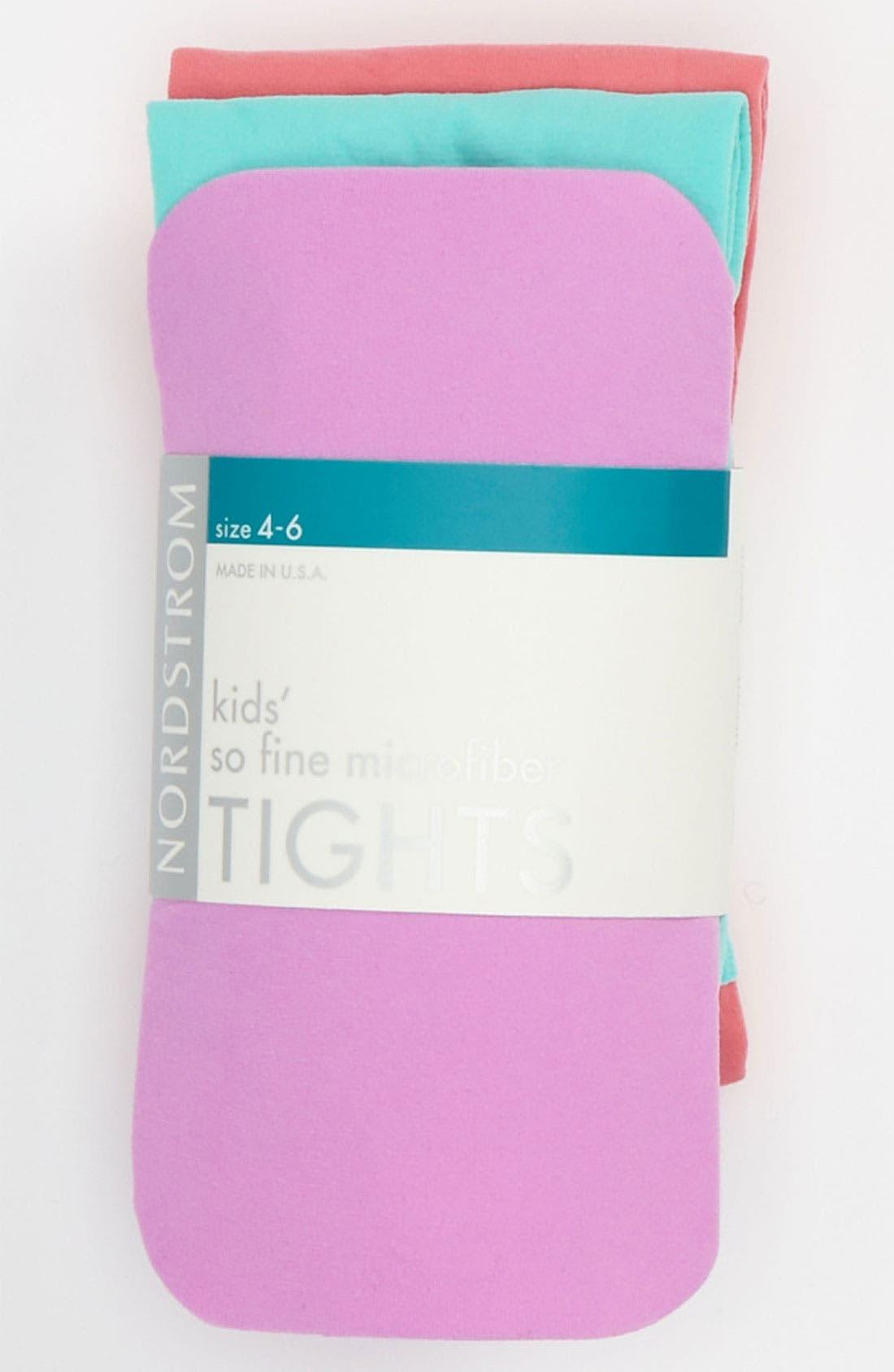 Main Image - Nordstrom 'So Fine' Microfiber Tights (3-Pack) (Girls)