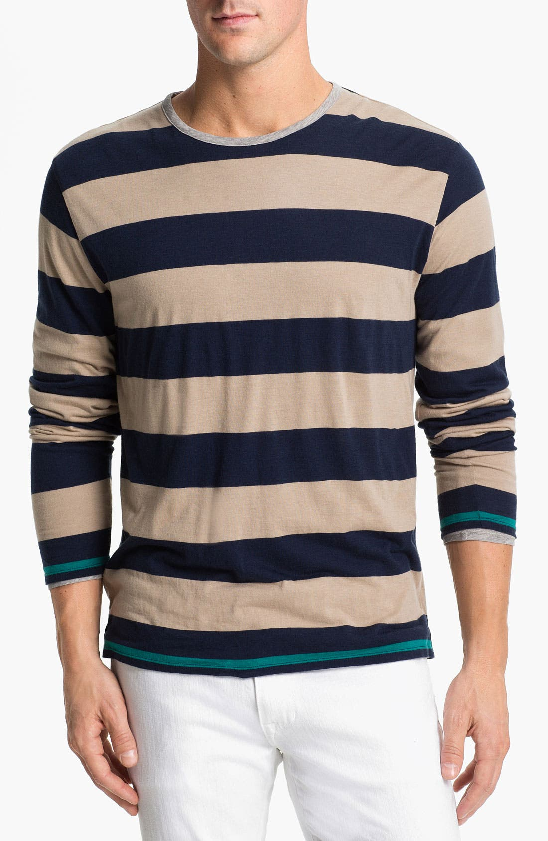Double Layer Long Sleeve T-Shirt,                         Main,                         color, Coastal Blue Stripe