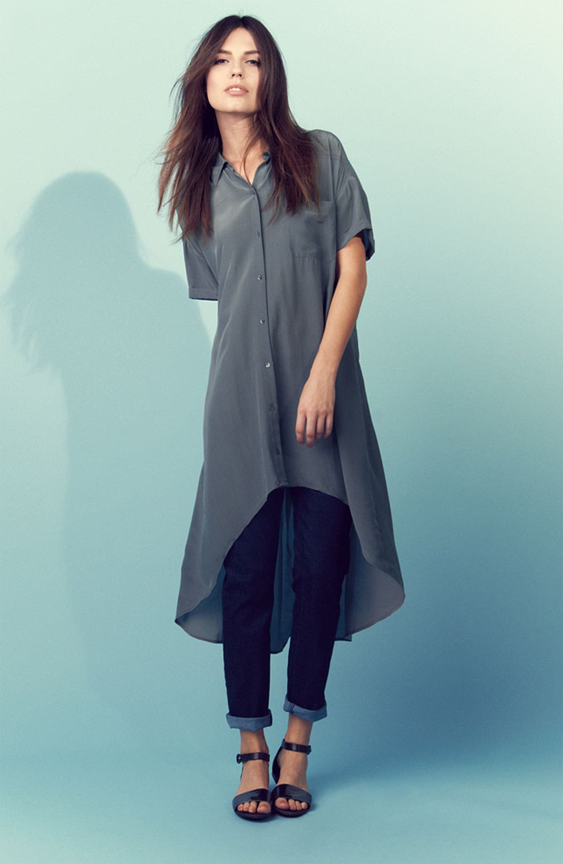 Alternate Image 1 Selected - Eileen Fisher Silk Shirtdress & Ankle Jeans