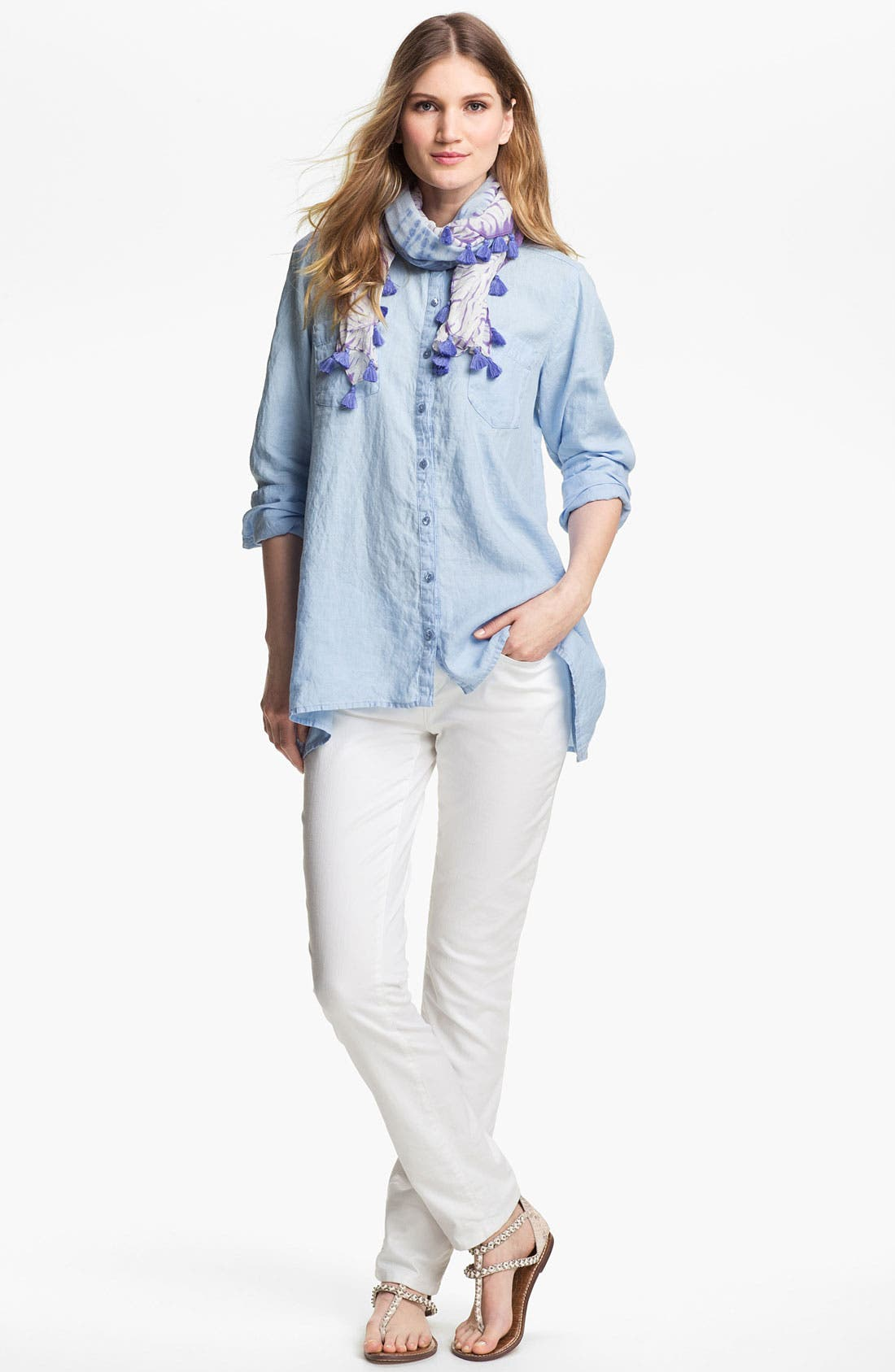 Alternate Image 5  - Eileen Fisher Mandarin Collar Organic Linen Shirt
