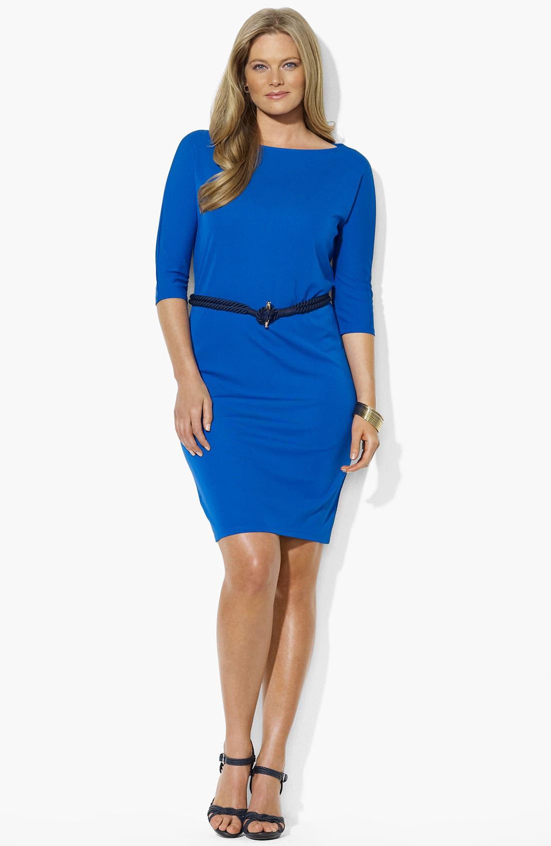 Main Image - Lauren Ralph Lauren Belted Dress (Plus Size)
