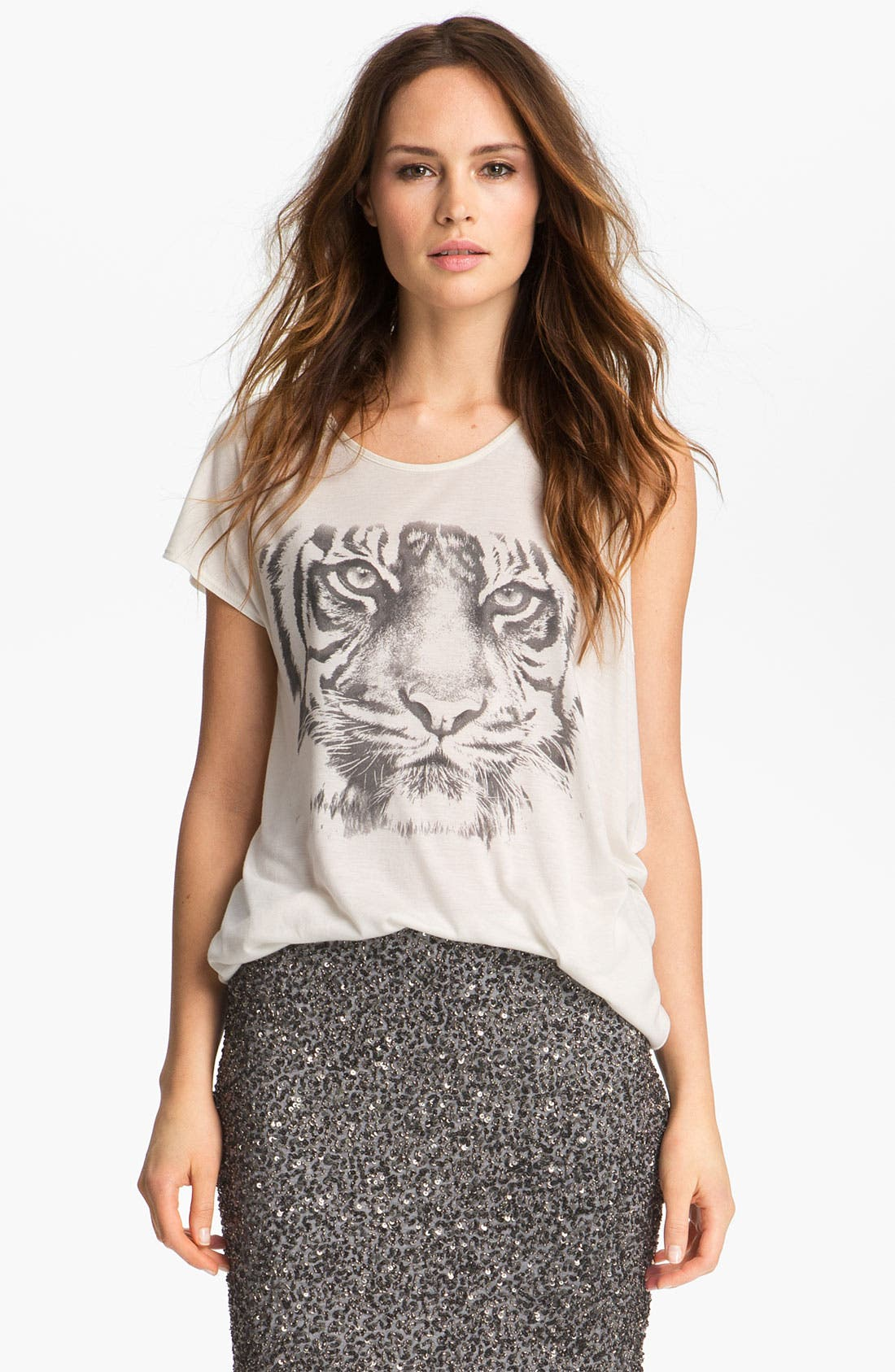Alternate Image 1 Selected - Haute Hippie Tiger Print Jersey Tee