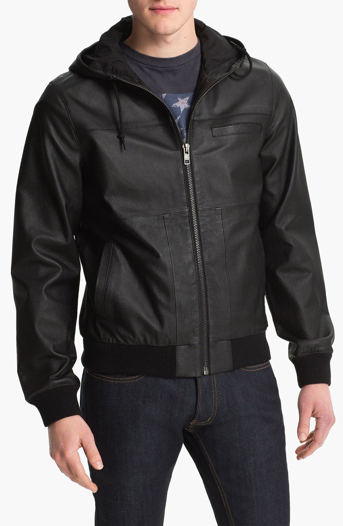 Main Image - Topman 'Bramley' Hooded Leather Jacket