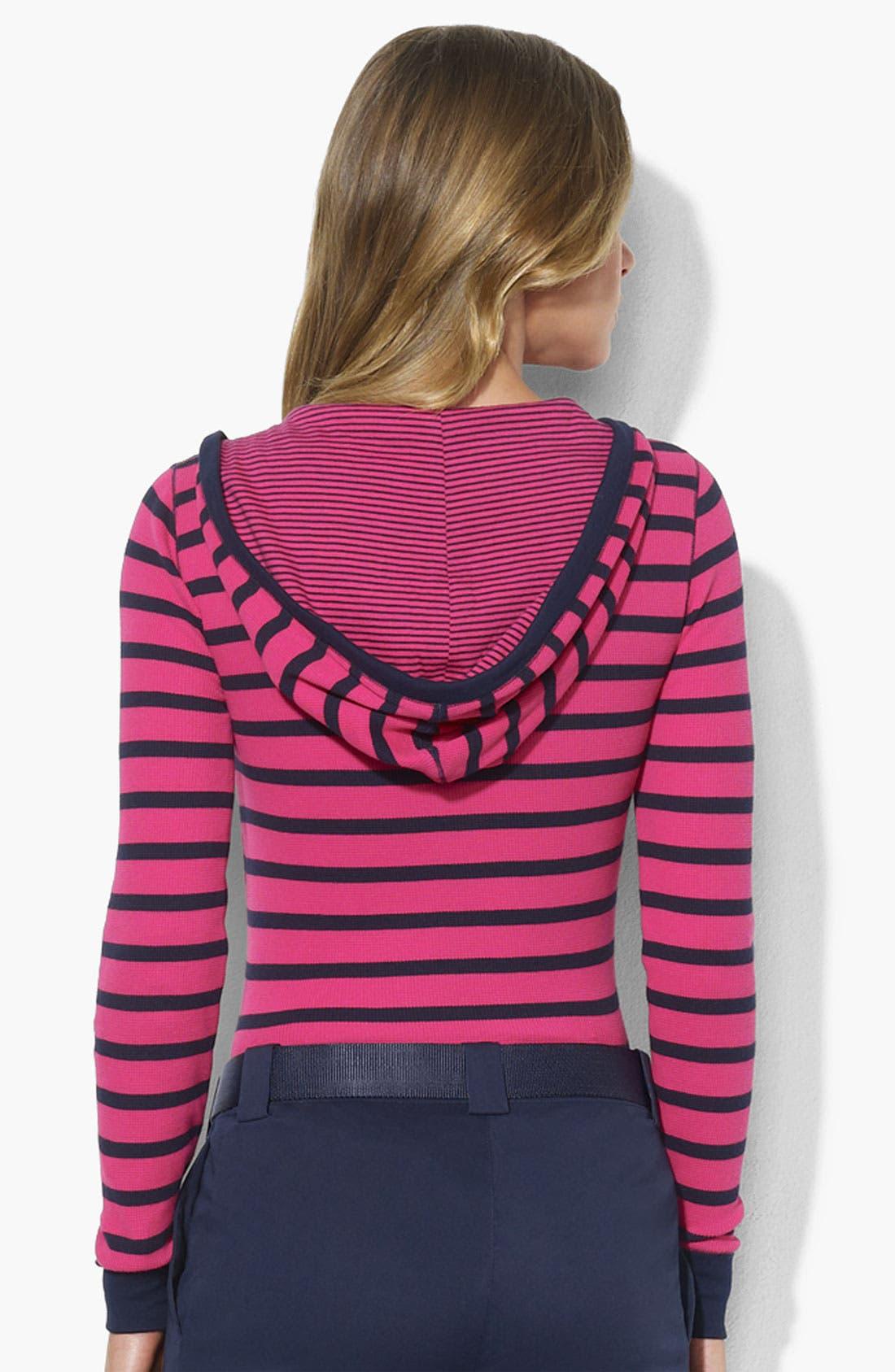Alternate Image 2  - Lauren Ralph Lauren Snap Placket Stripe Hoodie (Petite) (Online Exclusive)