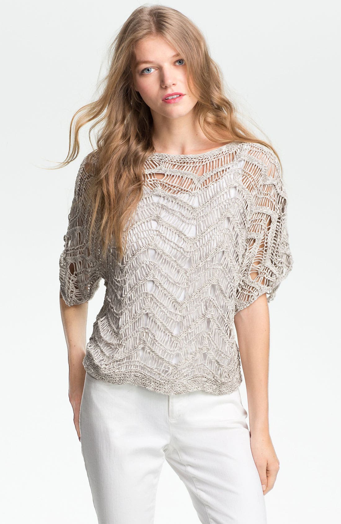 Alternate Image 1 Selected - Eileen Fisher Bateau Neck Open Stitch Sweater