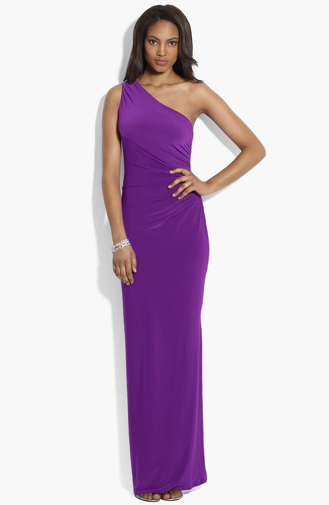 Main Image - Lauren Ralph Lauren Embellished One Shoulder Matte Jersey Gown