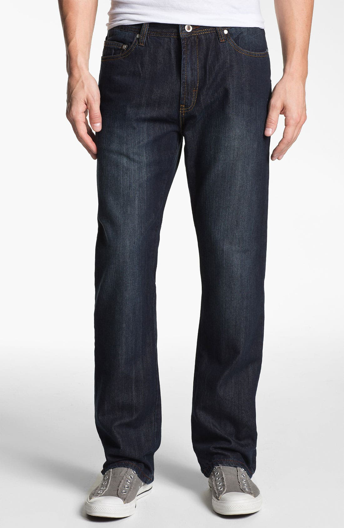 Alternate Image 1 Selected - ROAD 'Freedom' Relaxed Fit Straight Leg Jeans (Dark Vintage)