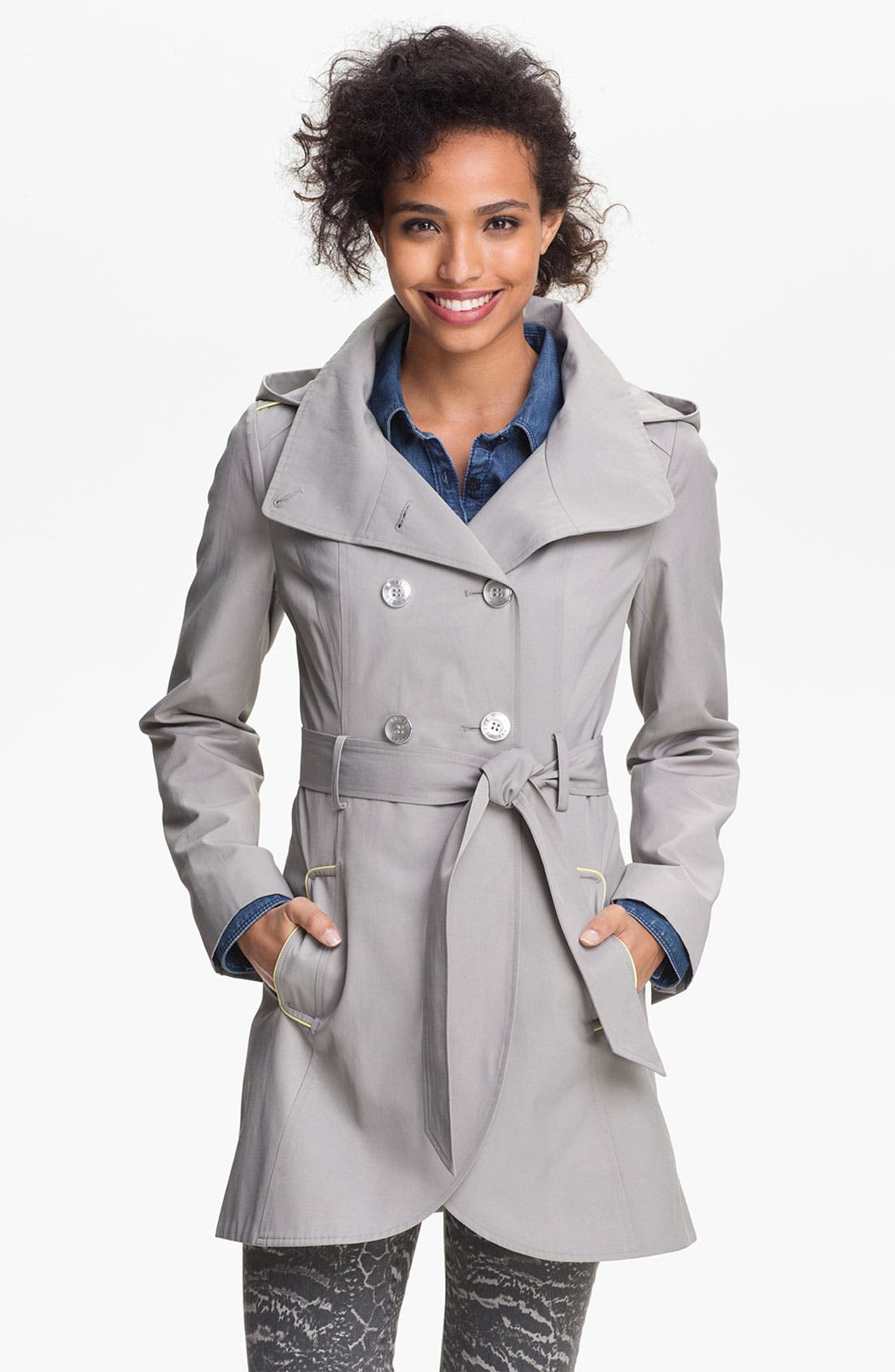 Main Image - GUESS Hooded Double Breasted Trench Coat (Online Only)
