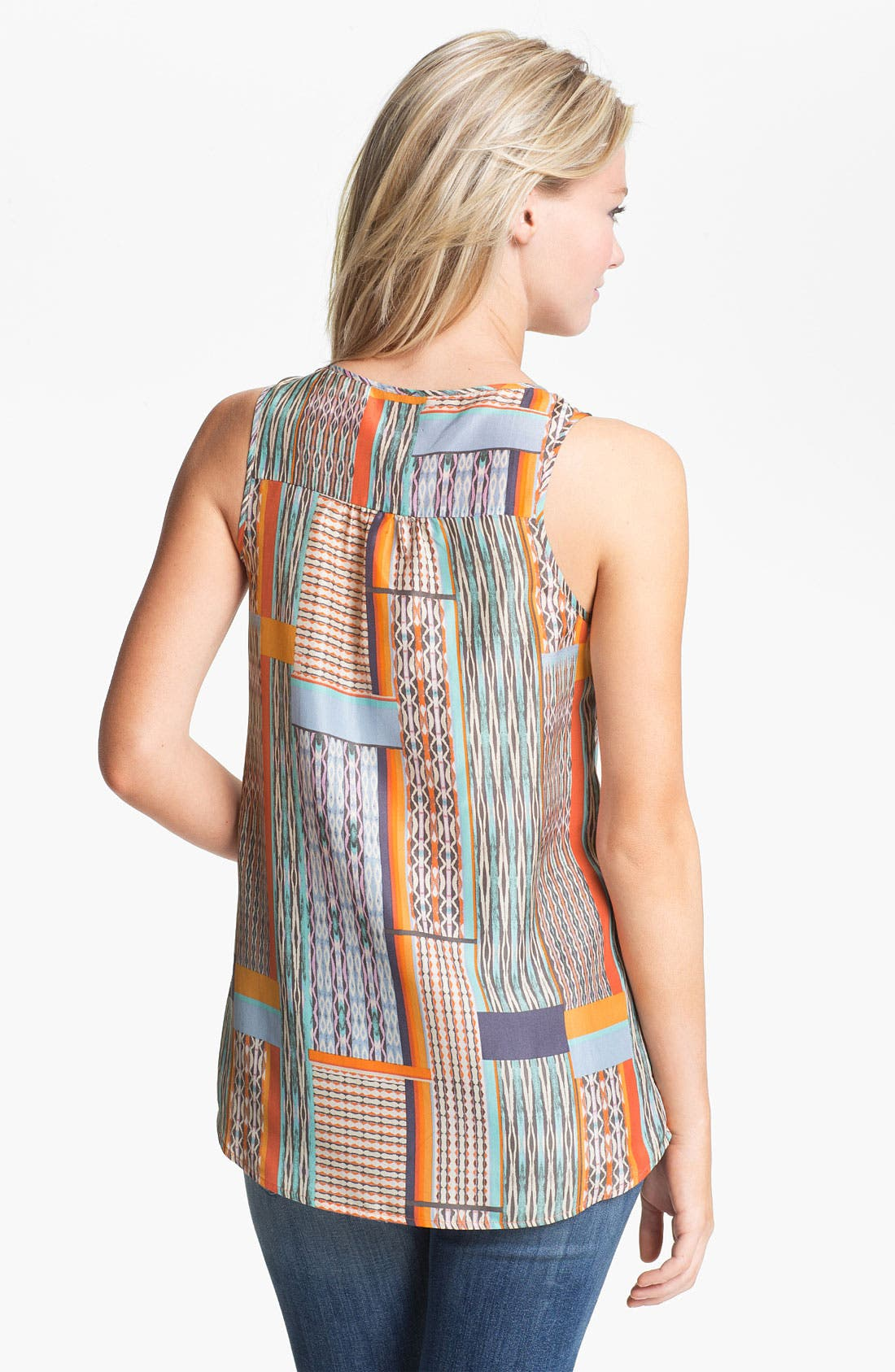 Alternate Image 2  - Hinge® Pleat Neck Silk Tank
