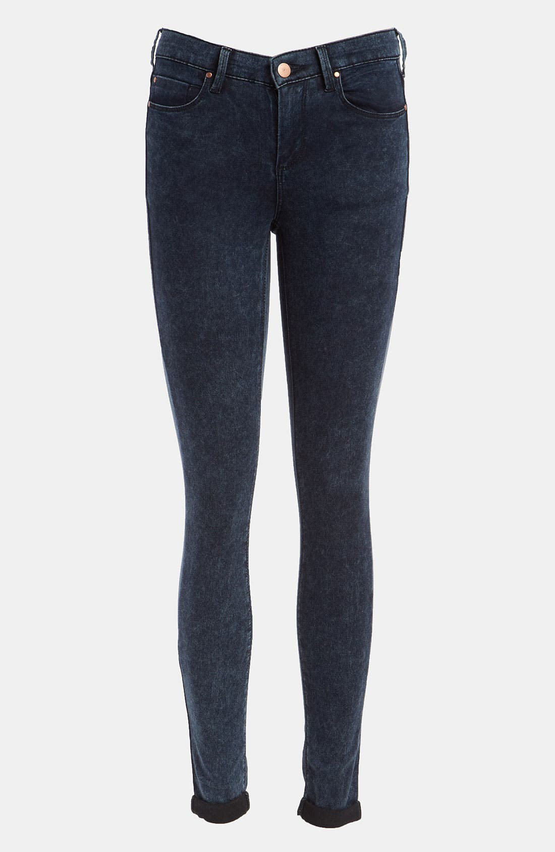 Main Image - Topshop Moto 'Leigh' Acid Wash Skinny Jeans