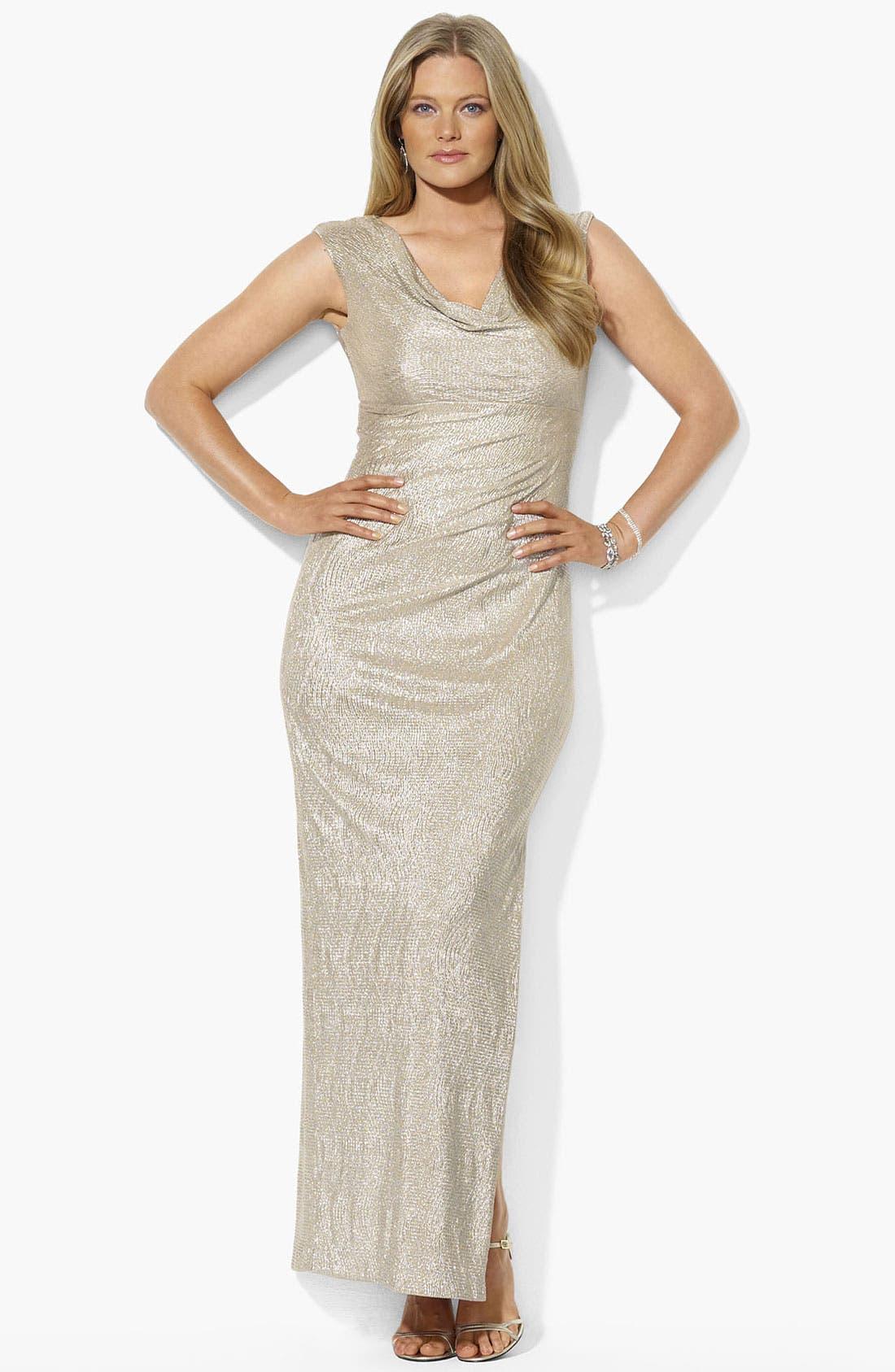 Main Image - Lauren Ralph Lauren Metallic Cowl Neck Gown (Plus Size)