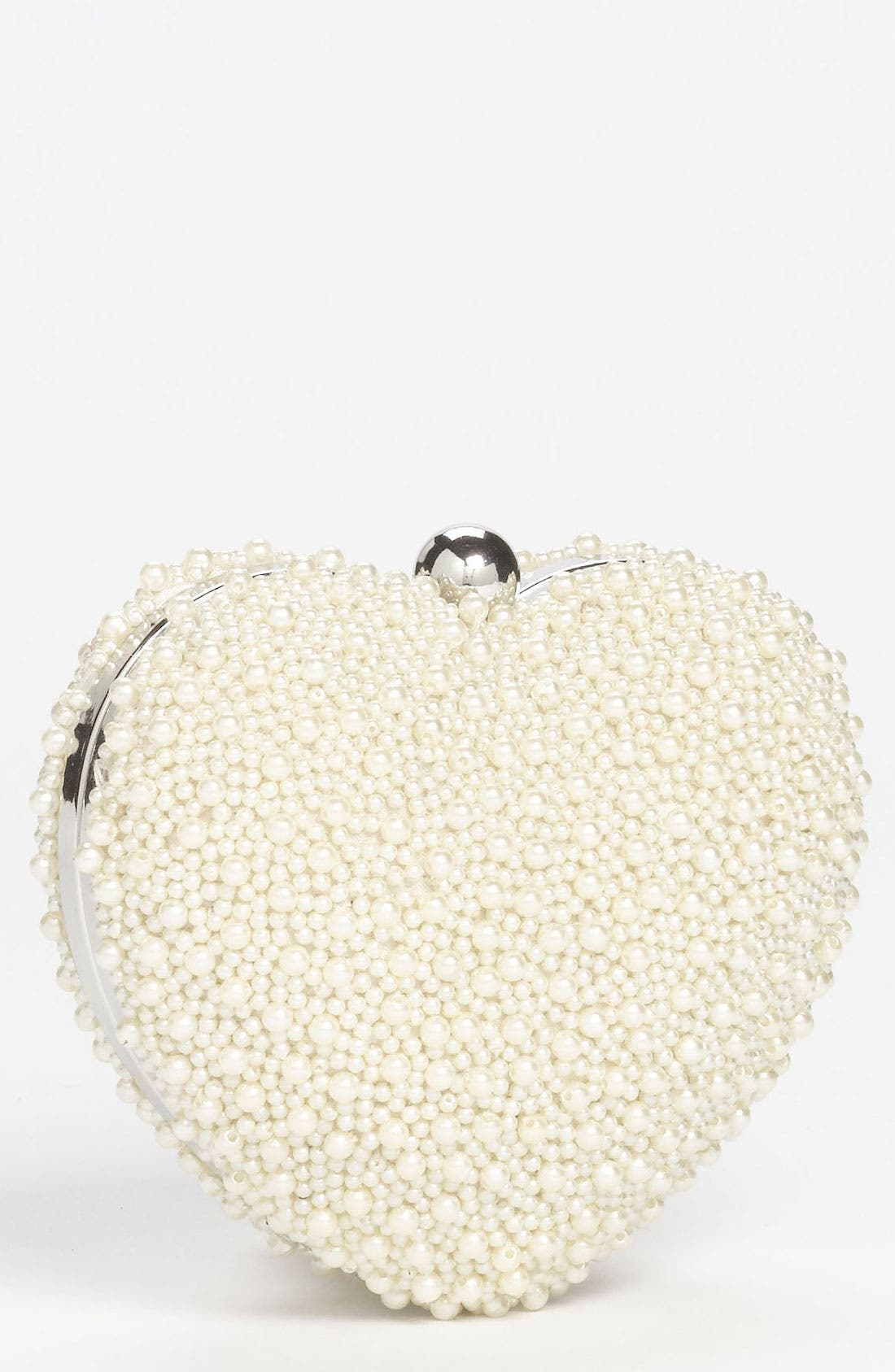 Main Image - Nina Beaded Heart Box Clutch, Small