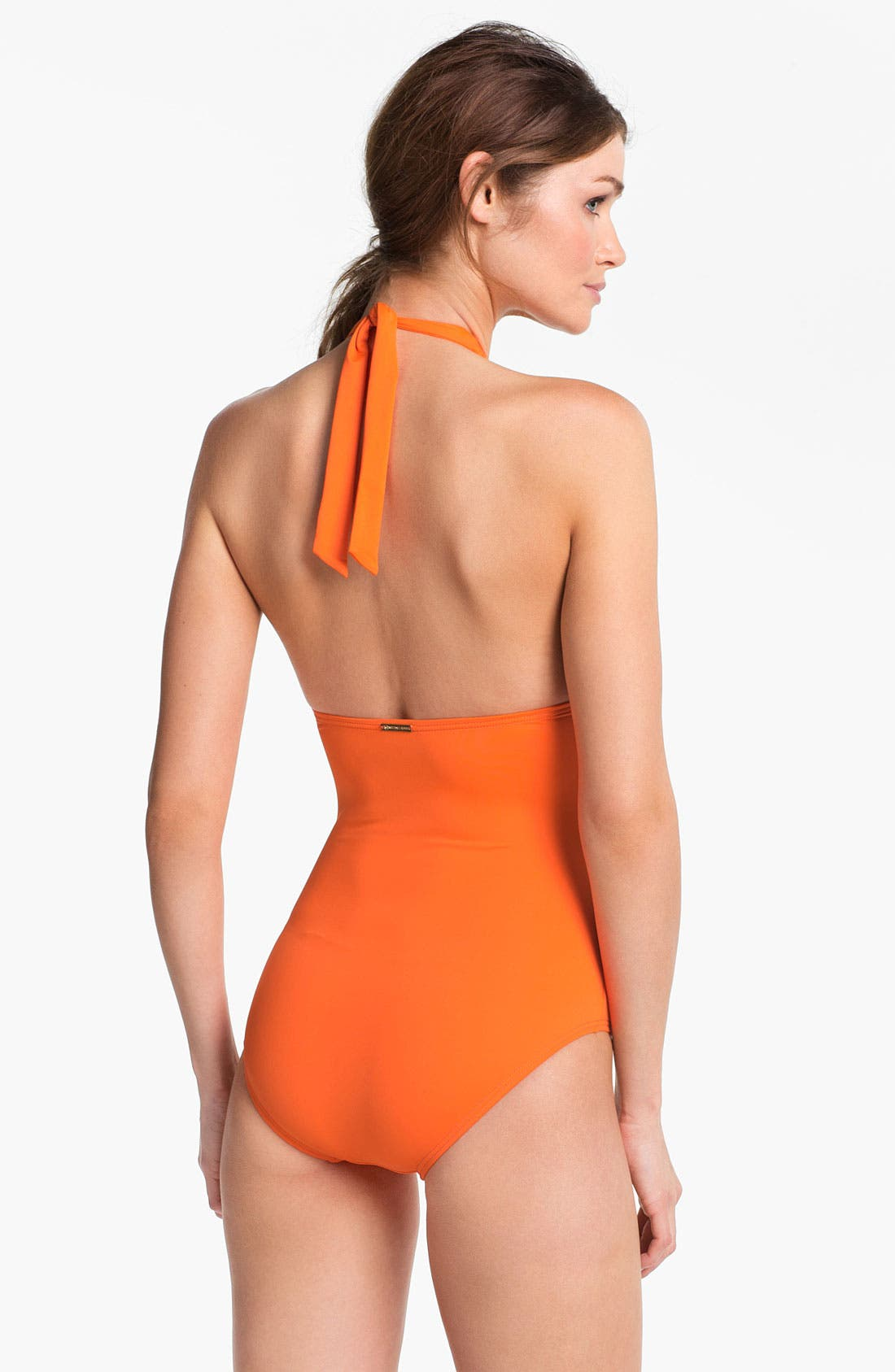 Alternate Image 2  - MICHAEL Michael Kors Shirred Halter One Piece Swimsuit
