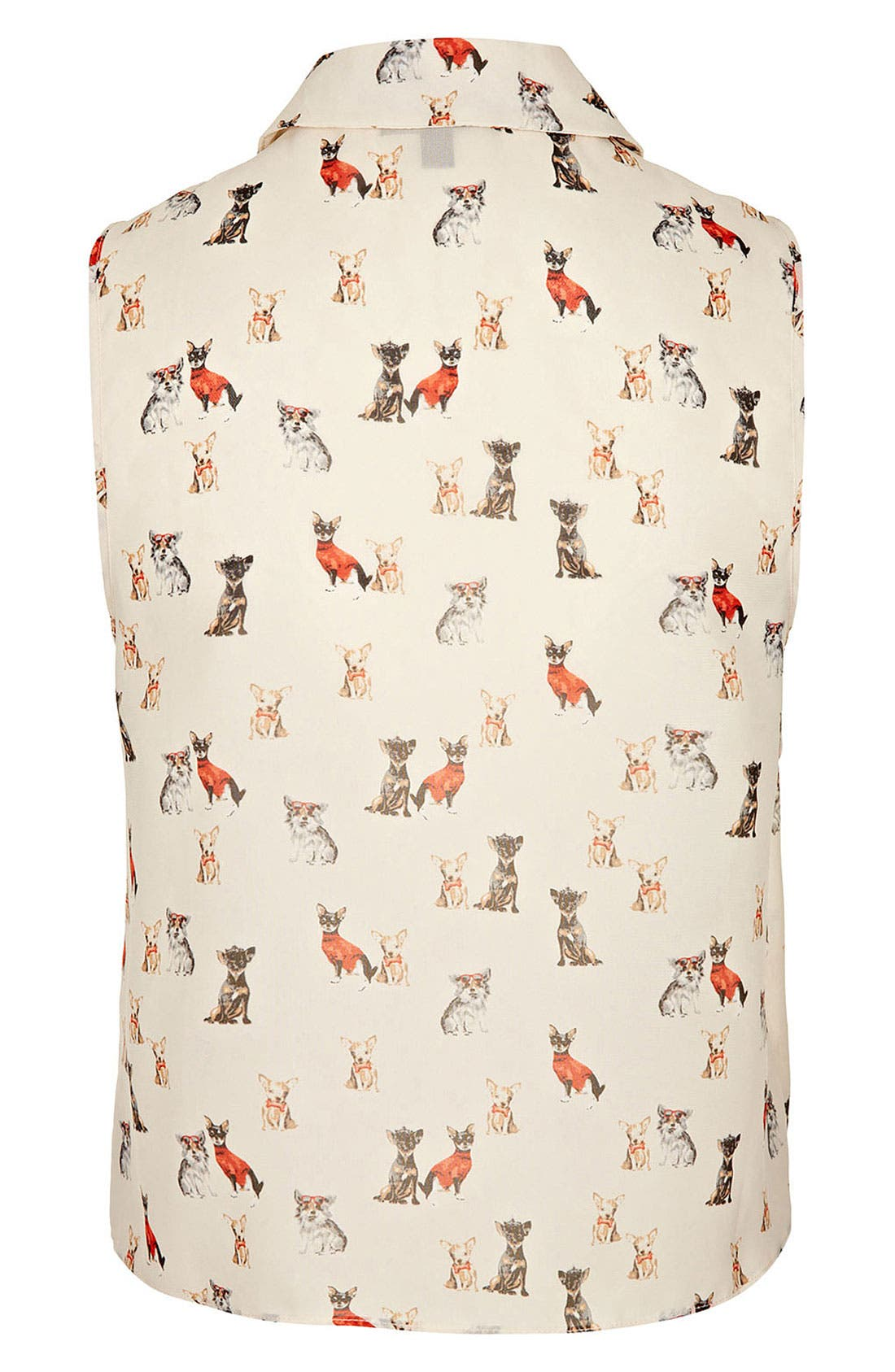 Alternate Image 2  - Topshop Dog Print Sleeveless Crop Shirt