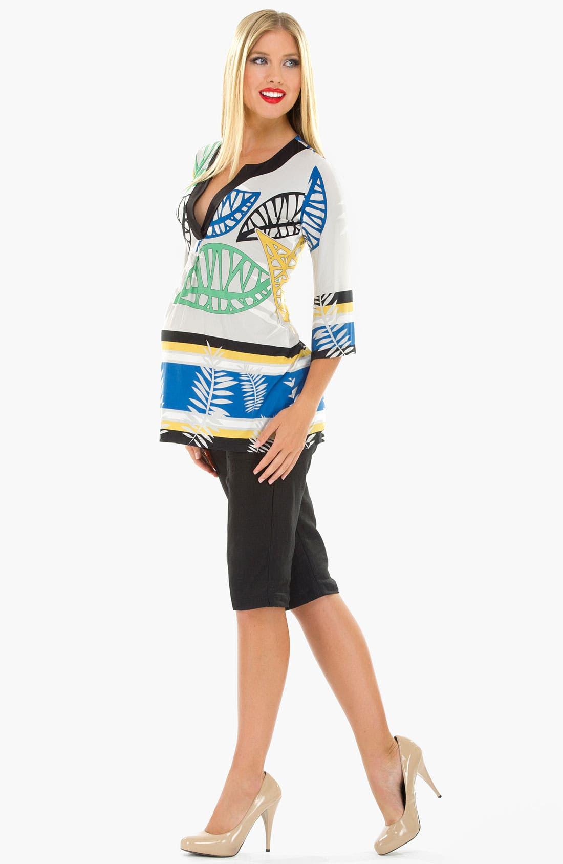 Alternate Image 2  - Olian Three Quarter Sleeve Maternity Tunic Top