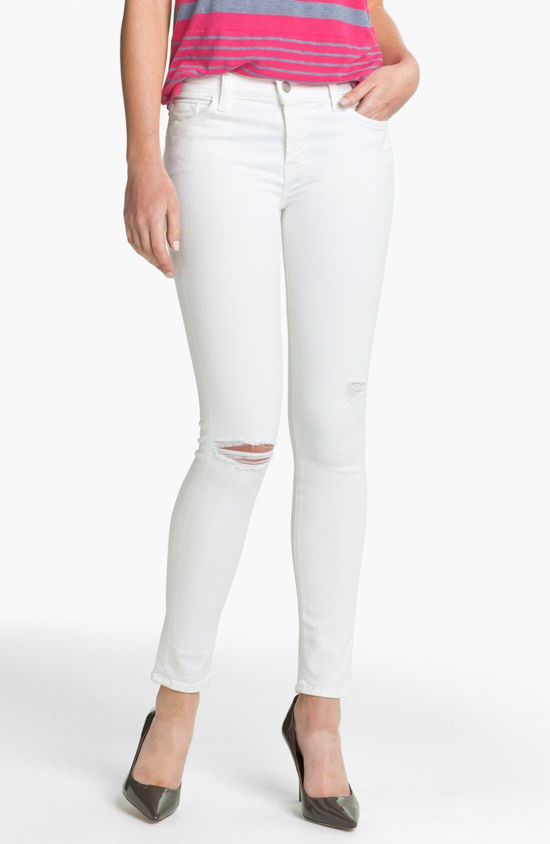 Main Image - J Brand Destroyed Skinny Jeans (Blanc Destruct)