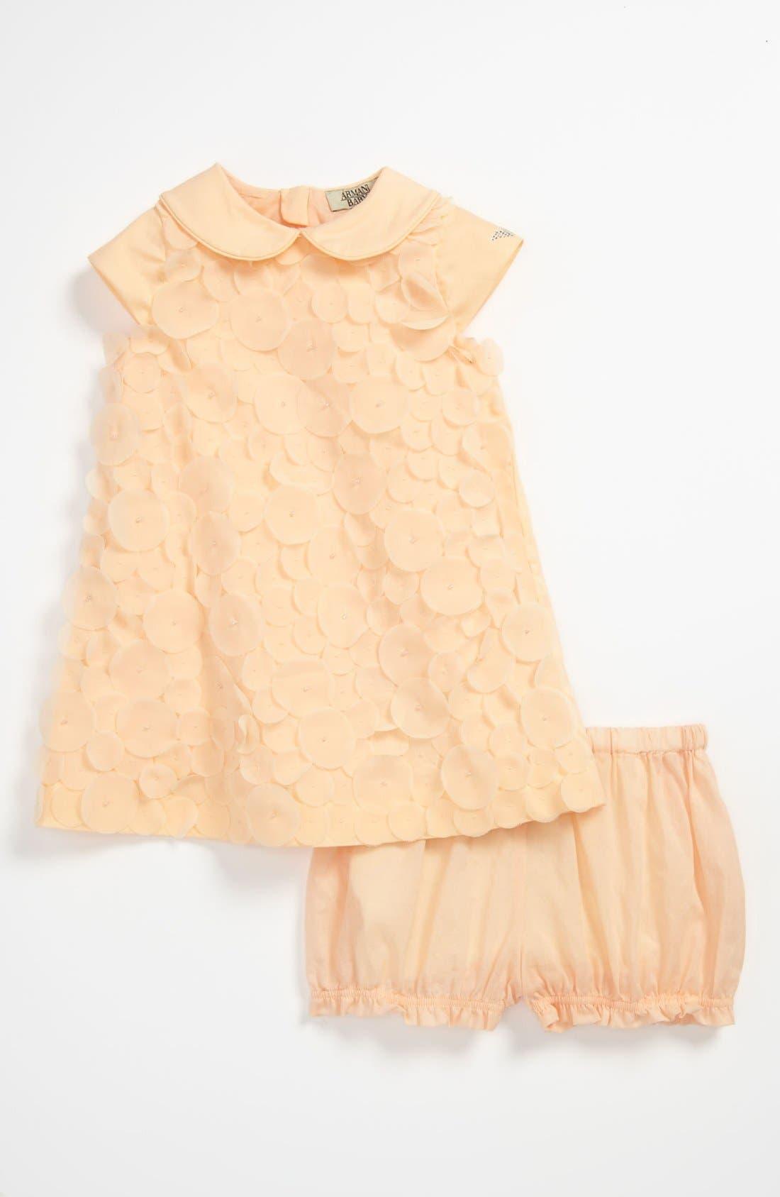 Alternate Image 1 Selected - Armani Junior 'Disc' Dress & Bloomers (Baby)