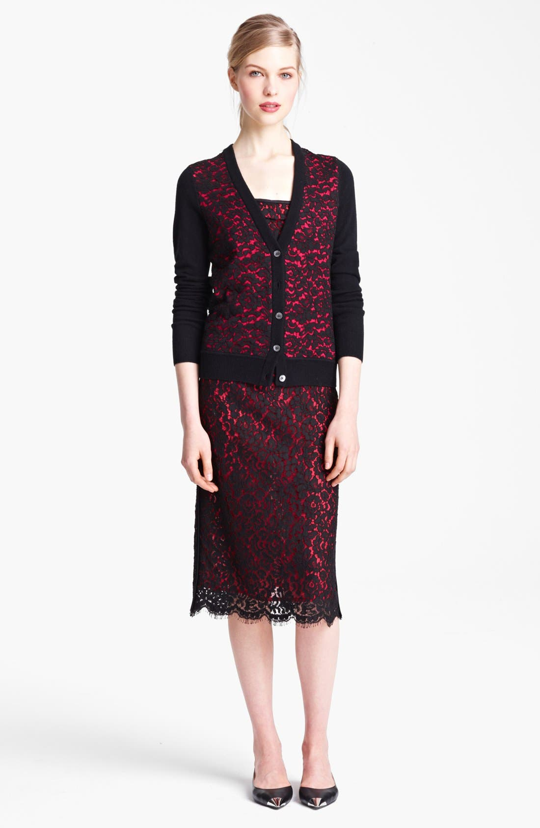 Alternate Image 4  - Michael Kors Lace Front Cashmere Cardigan