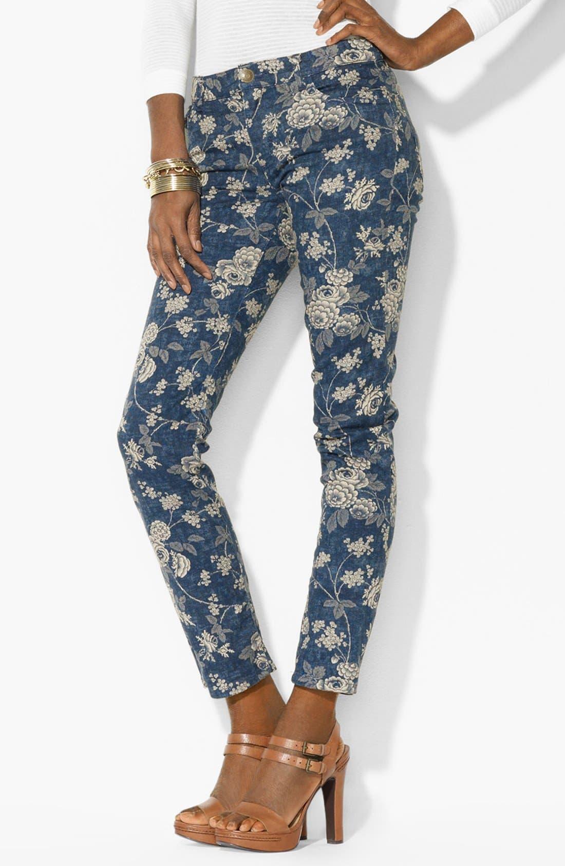 Alternate Image 2  - Lauren Ralph Lauren Print Straight Leg Ankle Pants (Petite) (Online Only)