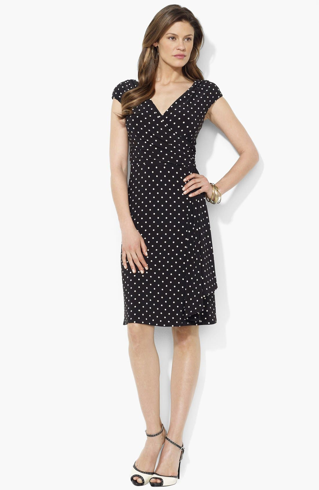 Main Image - Lauren Ralph Lauren Draped Polka Dot Jersey Dress