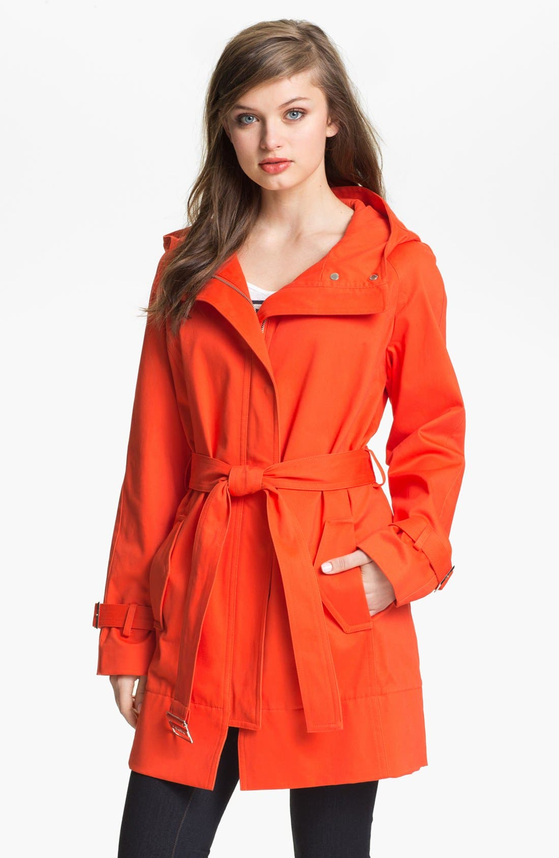 Alternate Image 1 Selected - Calvin Klein Hooded Trench Coat