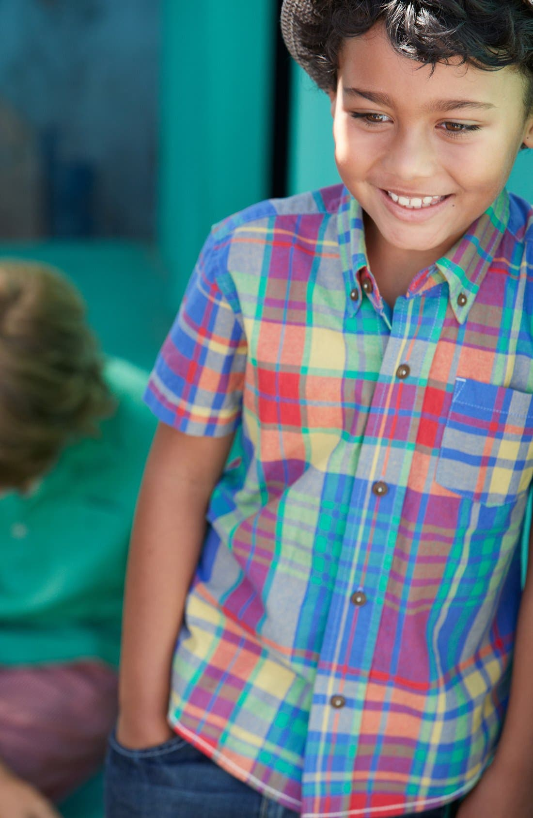 Alternate Image 2  - Mini Boden 'Summer Check' Shirt (Little Boys & Big Boys)