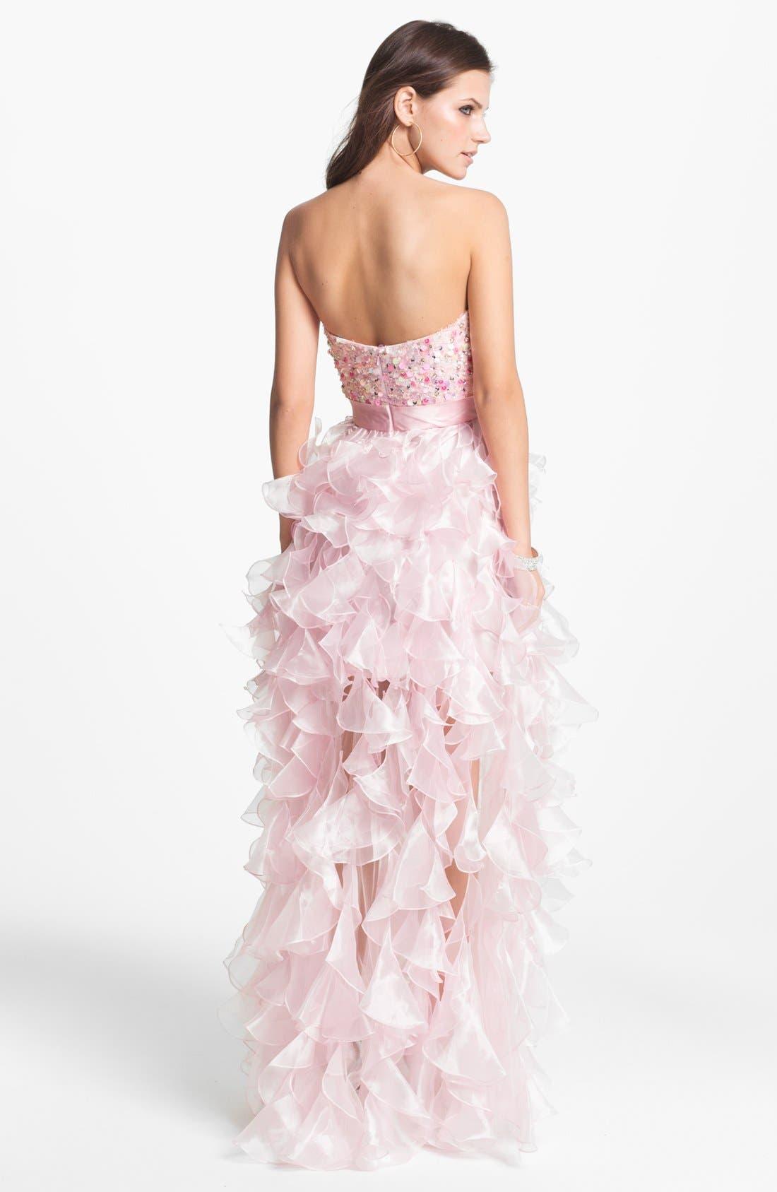 Alternate Image 2  - Sherri Hill 'Corkscrew' Embellished Ruffled Chiffon Dress