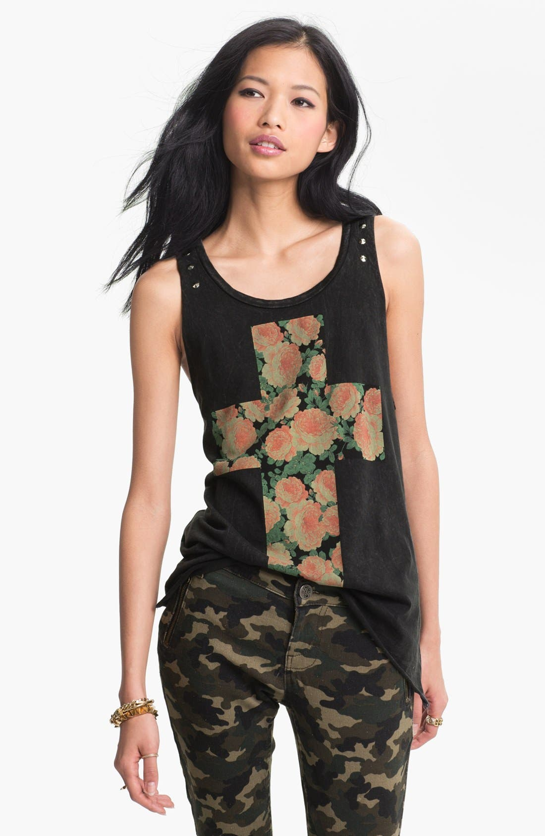 Alternate Image 1 Selected - Lock & Love Studded Cross Graphic Tank (Juniors)