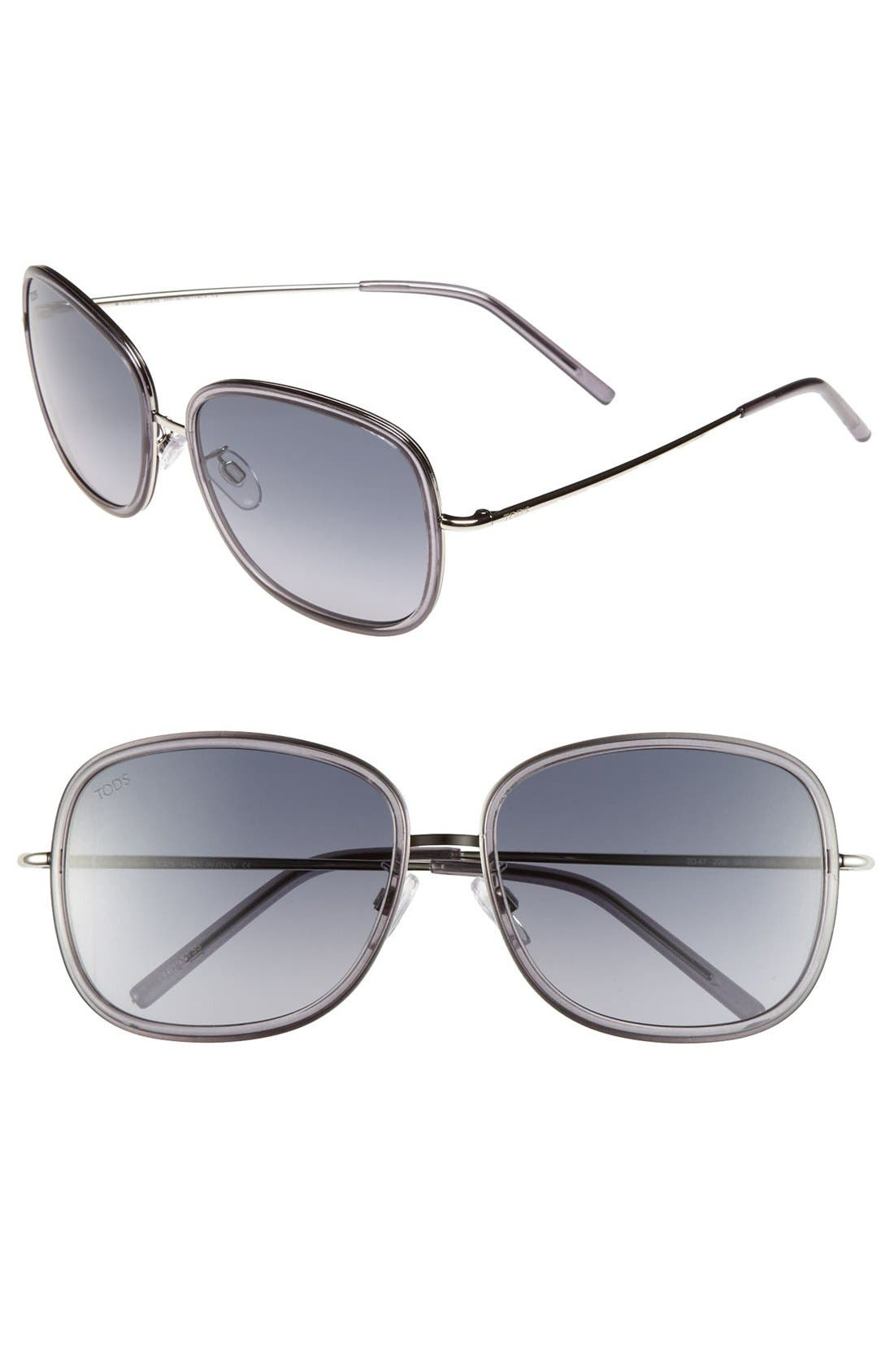 Main Image - Tod's 'Sung' 58mm Metal Aviator Sunglasses