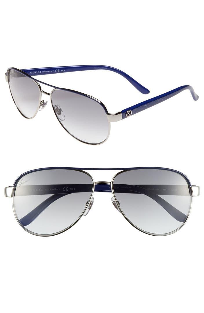 966ba19e372 Gucci Metal 58mm Aviator Sunglasses