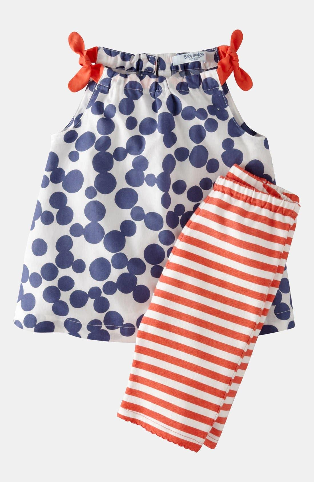 Main Image - Mini Boden Print Top & Leggings (Baby)