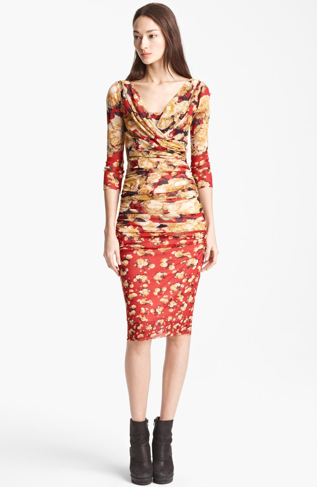 Alternate Image 1 Selected - Jean Paul Gaultier Fuzzi Rose Print Ruched Dress
