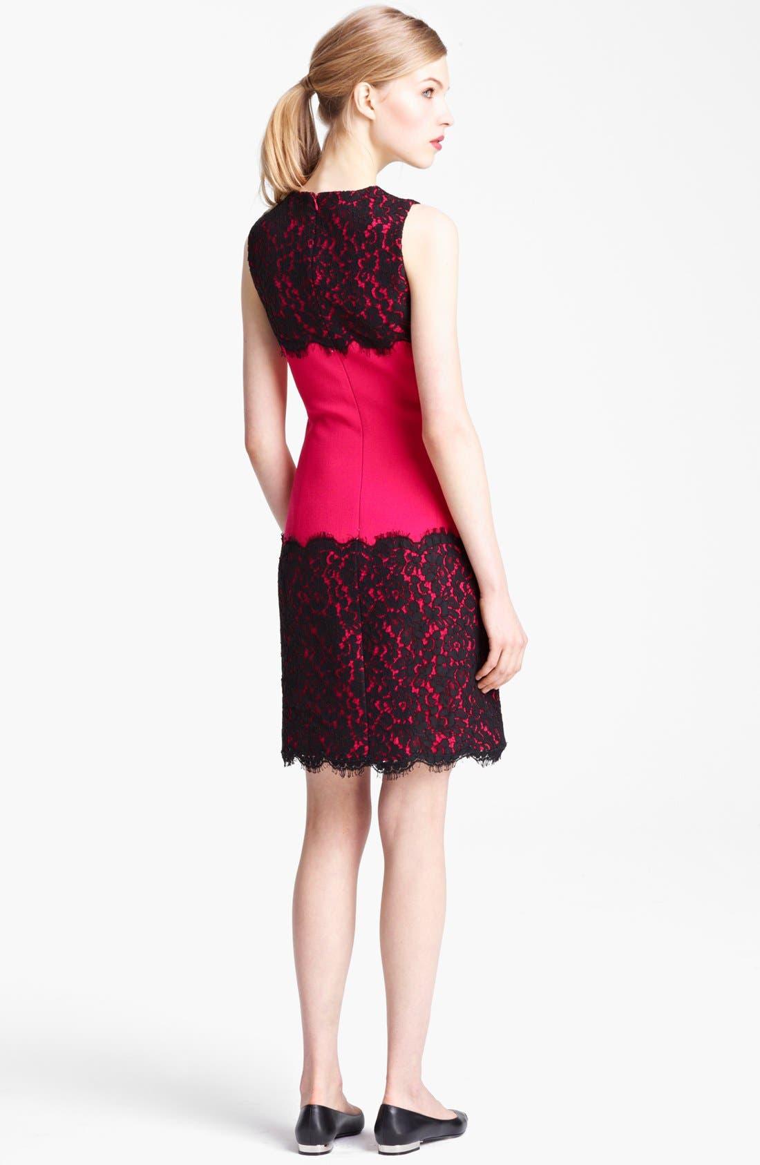Alternate Image 2  - Michael Kors Lace Trim Crepe Sheath Dress