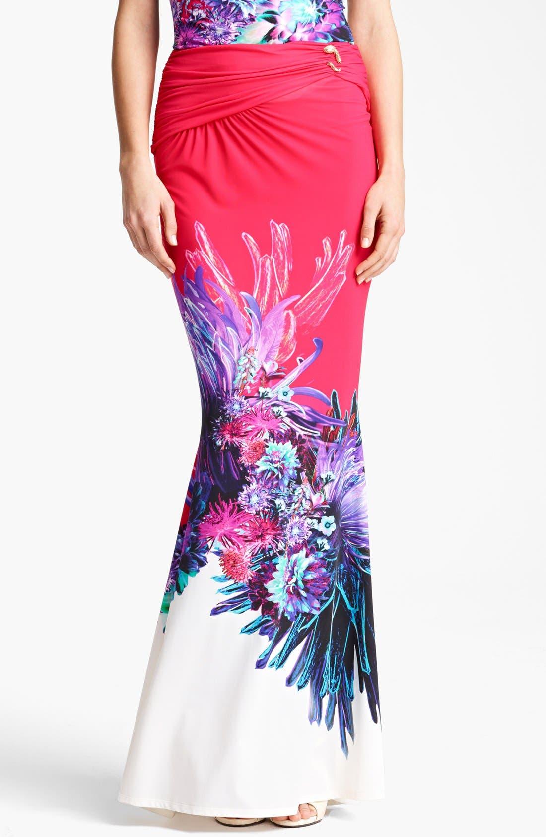 Main Image - Roberto Cavalli 'Amber Print' Long Skirt