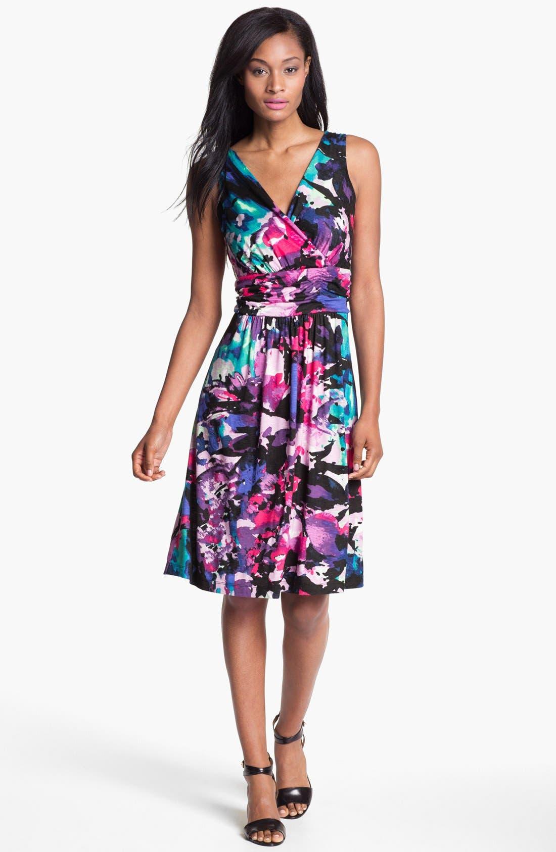 Main Image - Nic + Zoe Sleeveless Faux Wrap Print Dress