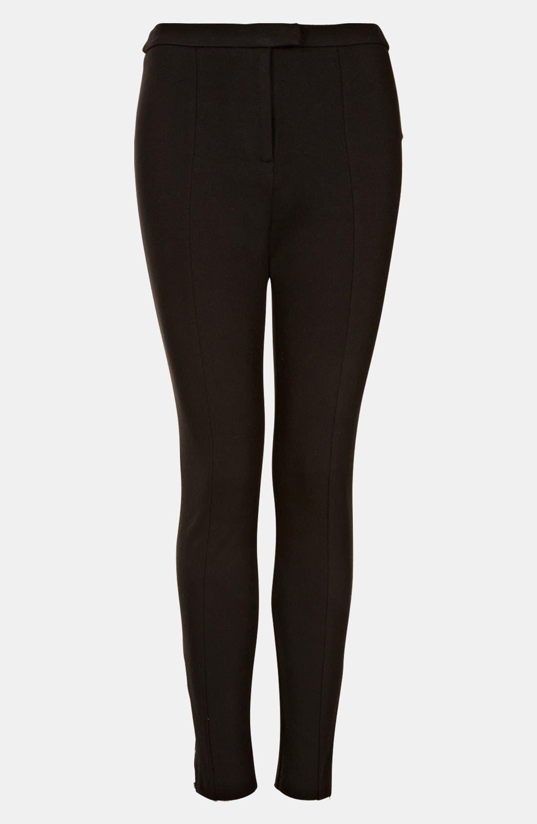 High Waist Ponte Skinny Pants,                             Main thumbnail 1, color,                             Black