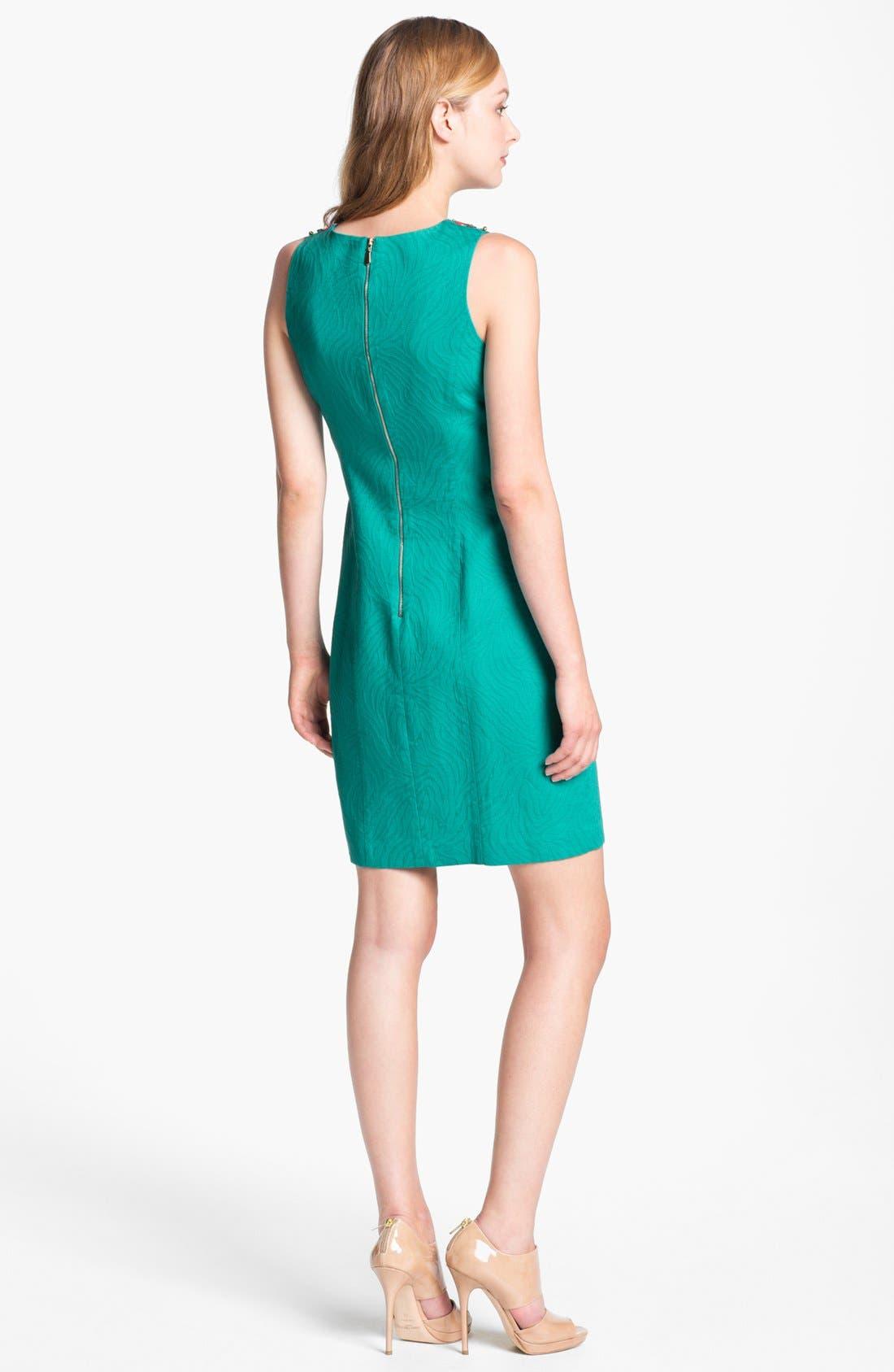Alternate Image 2  - Laundry by Shelli Segal Embellished Jacquard Sheath Dress (Petite)