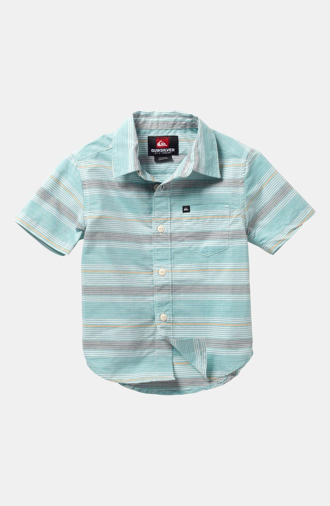 Main Image - Quiksilver 'Booked Tickets' Short Sleeve Slim Fit Sport Shirt (Little Boys)