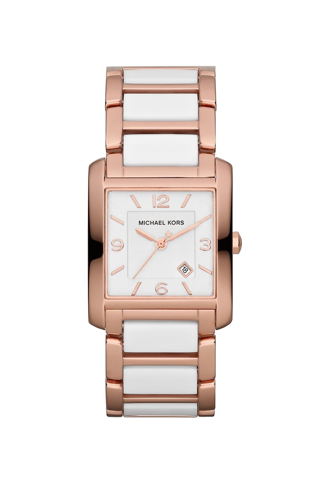 Main Image - Michael Kors 'Frenchy' Rectangular Bracelet Watch, 26mm x 29mm