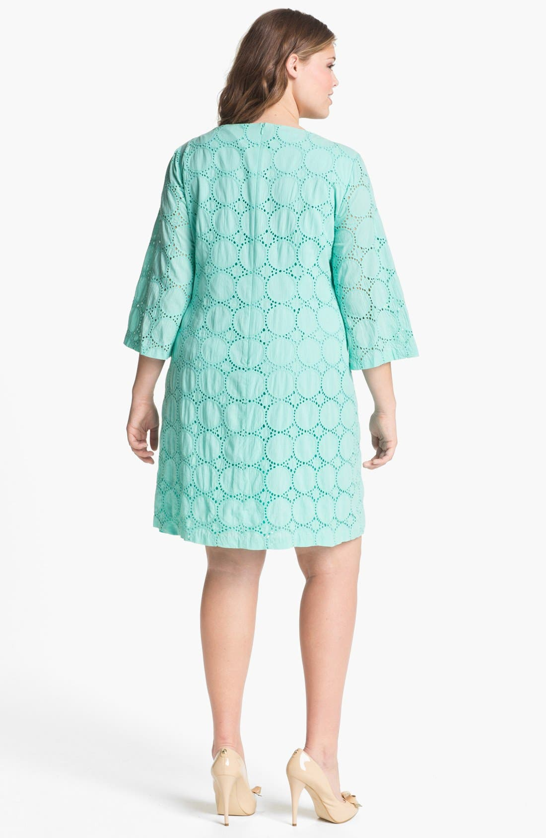 Alternate Image 2  - London Times Eyelet Shift Dress (Plus Size)