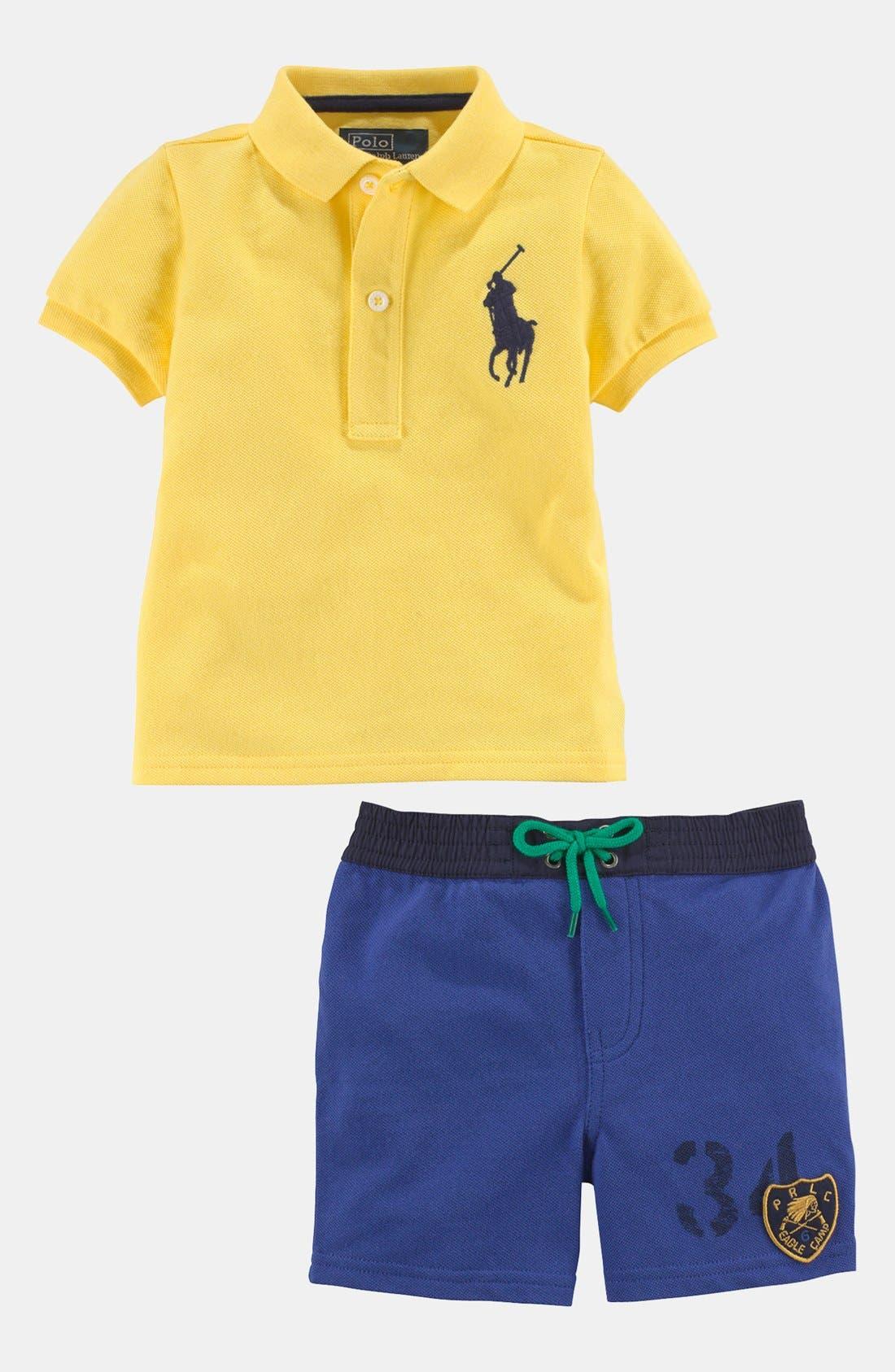 Alternate Image 1 Selected - Ralph Lauren Colorblock Shirt & Shorts (Baby)