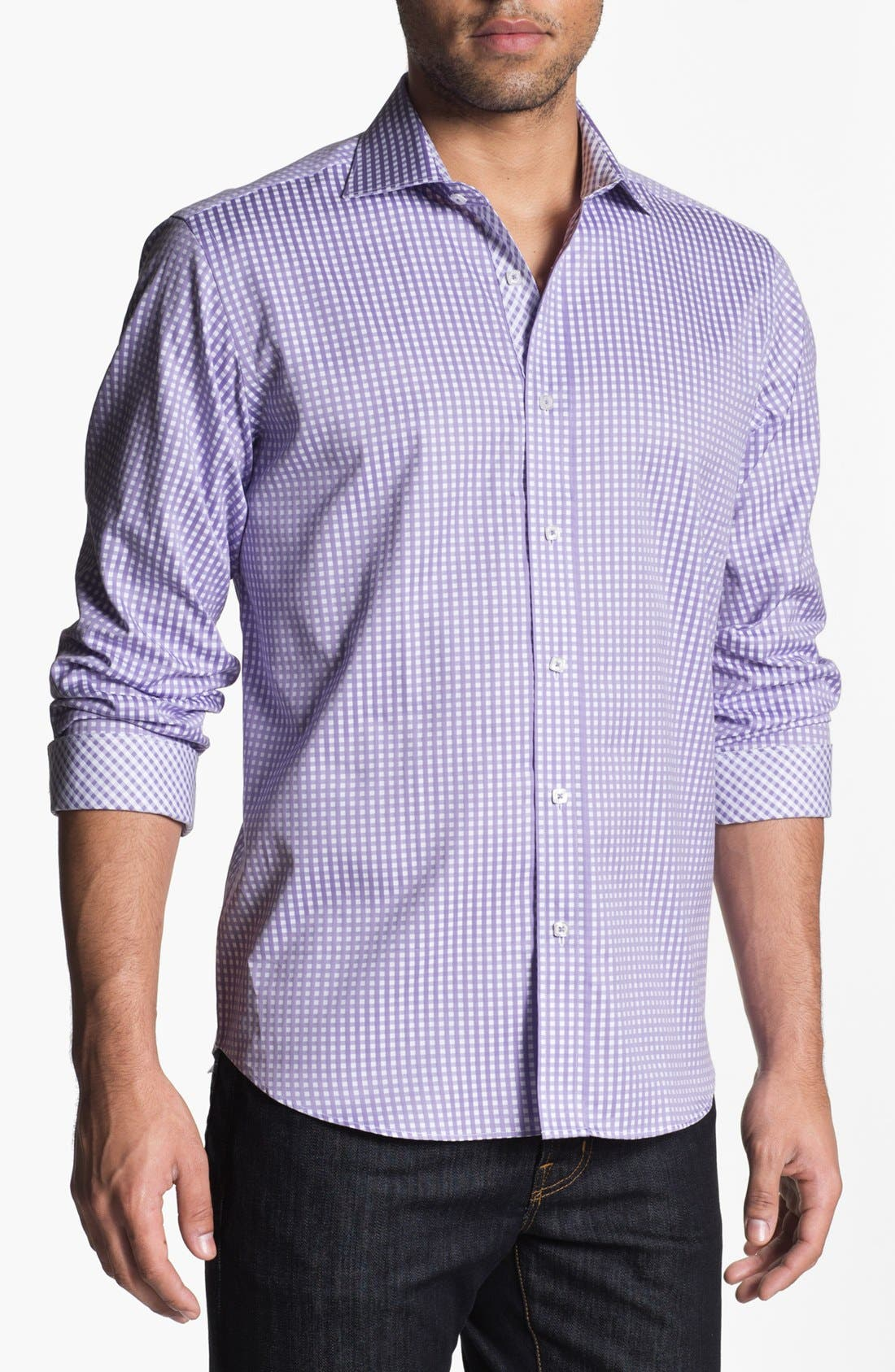 Alternate Image 1 Selected - Bugatchi Gingham Classic Fit Cotton Sport Shirt