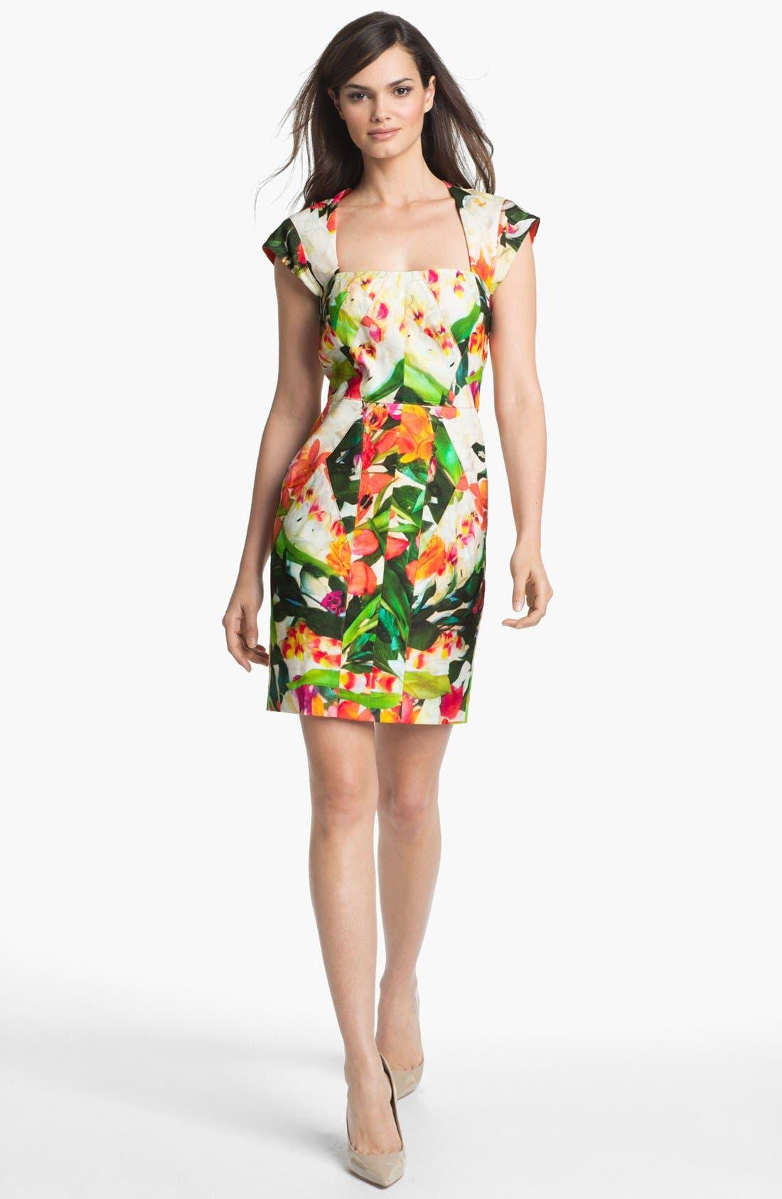 Alternate Image 1  - Nicole Miller Floral Print Seamed Sheath Dress